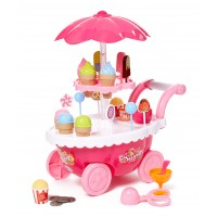 Dash Toyz Ice Cream Candy Cart 39 PCS Pretend Play Food Dessert and Cash Trolley Set Toy with Music and Lighting
