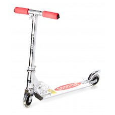 Red Dash Toyz Two-Wheeled Toy Kick Scooter with Light-Up Wheels and Stand