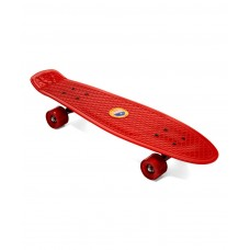 22 Inch Cruiser Skateboard Plastic Banana Board with Smooth PU Casters for Kids Boys Youths Beginners(Red)