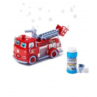 Dash Fire Truck Bubble Blowing Bump & Go Battery Operated Toy Truck w/ Extending Crane, Lights & Sounds