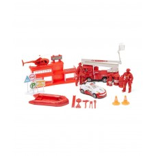 City Fire Rescue Toy Vehicle Playset w/ Variety of Vehicles, Accessories